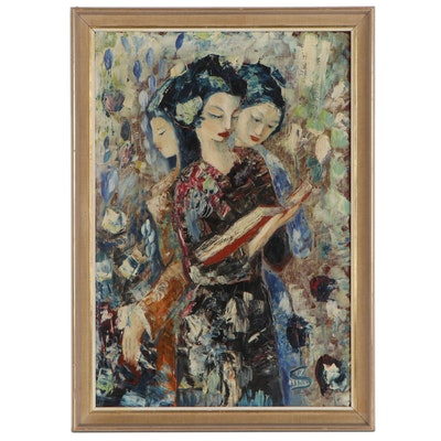 Palette Knife Oil Painting of Three Women, Mid to Late 20th Century