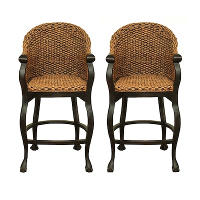 Pair of Contemporary Woven Seagrass Ball and Claw Foot Barstools