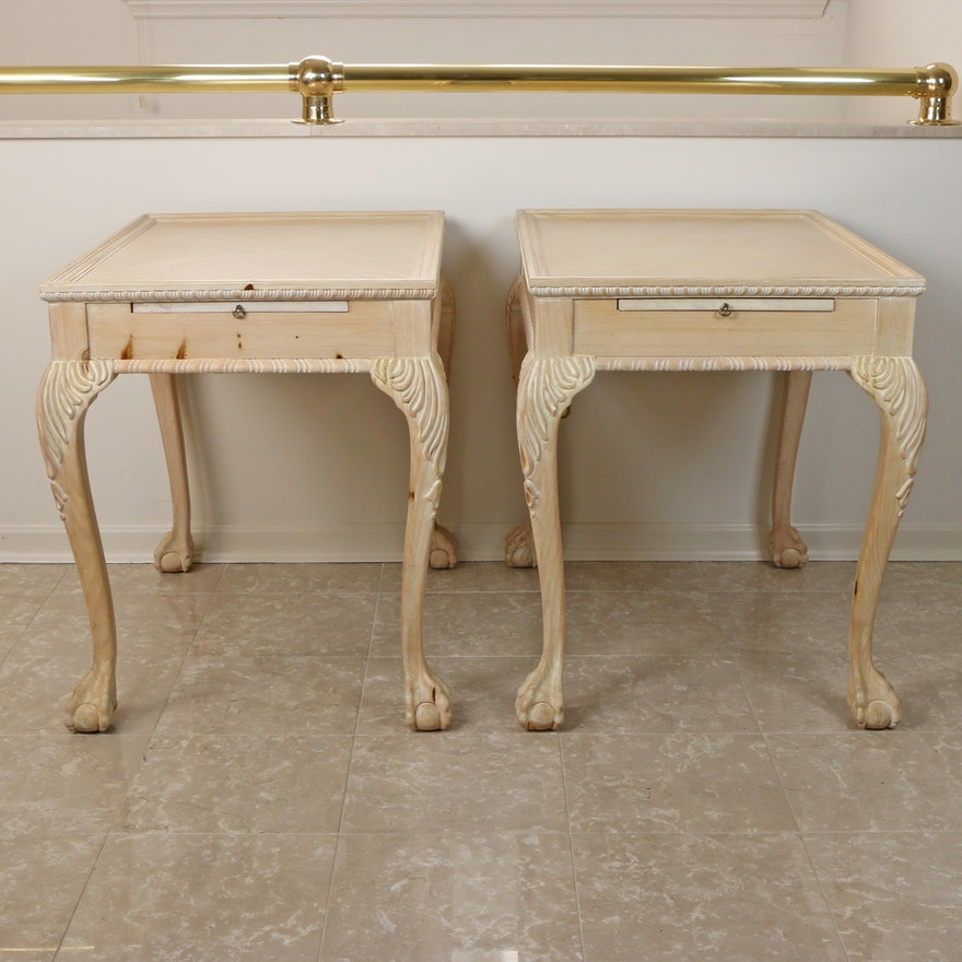 Chippendale Style Pickled Pine End Tables, Late 20th Century