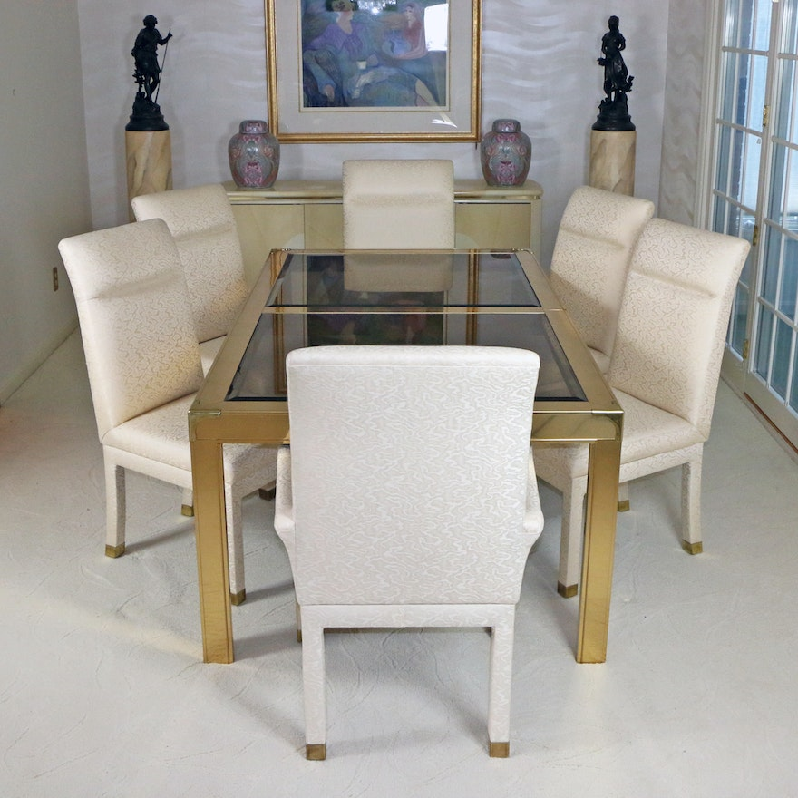 David A. Millett Brass and Smoked Glass Dining Table Set, Late 20th Century