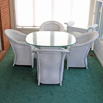 Lloyd Loom White Wicker and Glass Dining Table Set and Serving Cart