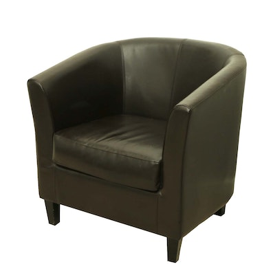 Contemporary Leather Upholstered Barrel Armchair