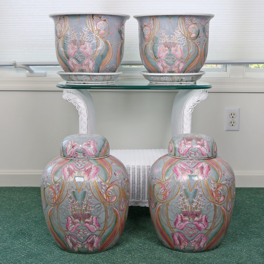 Chinese Ceramic Planters and Ginger Jars, Mid to Late 20th Century