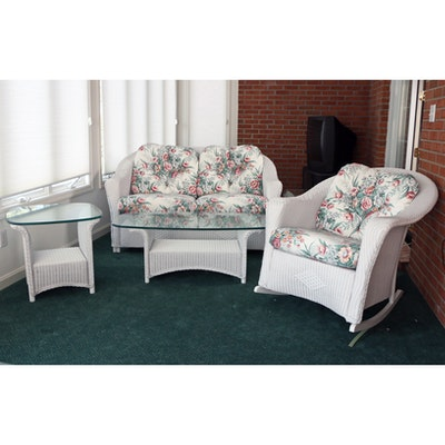 Lloyd Loom White Wicker Loveseat, Rocking Chair, and Tables