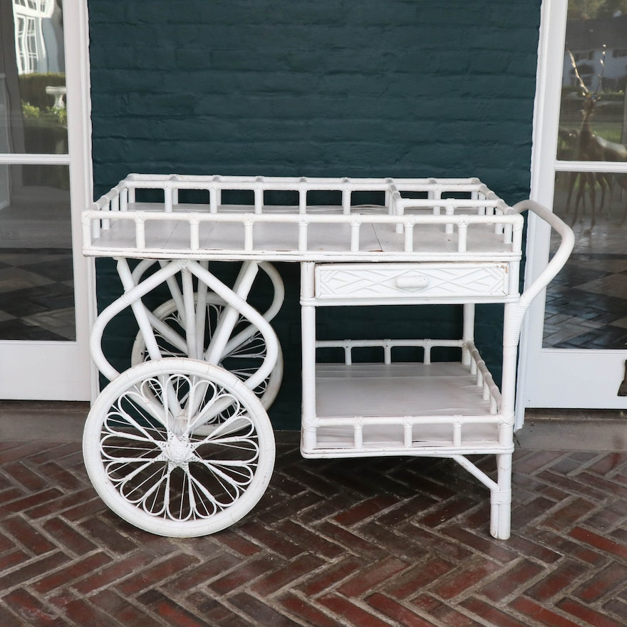 Painted Rattan and Bamboo Rolling Bar Cart, Early 20th Century