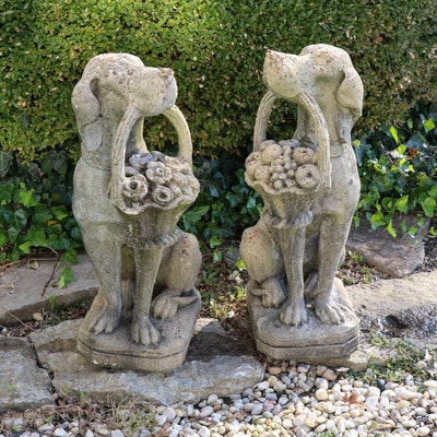 Concrete Garden Statues of Dogs with Flower Baskets, 20th Century