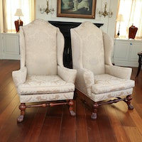 David A. Millett Damask Upholstered Wingback Armchairs with Down Seats