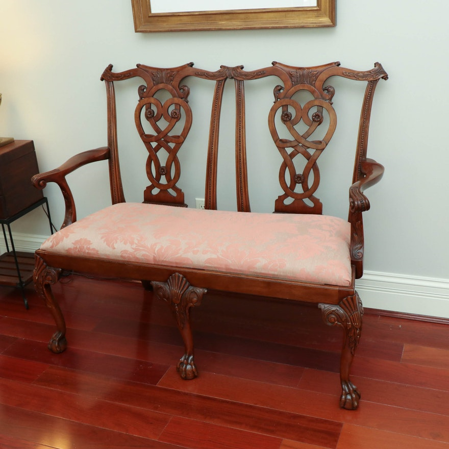 Chippendale Style Mahogany Double-Chairback Settee, Late 20th Century
