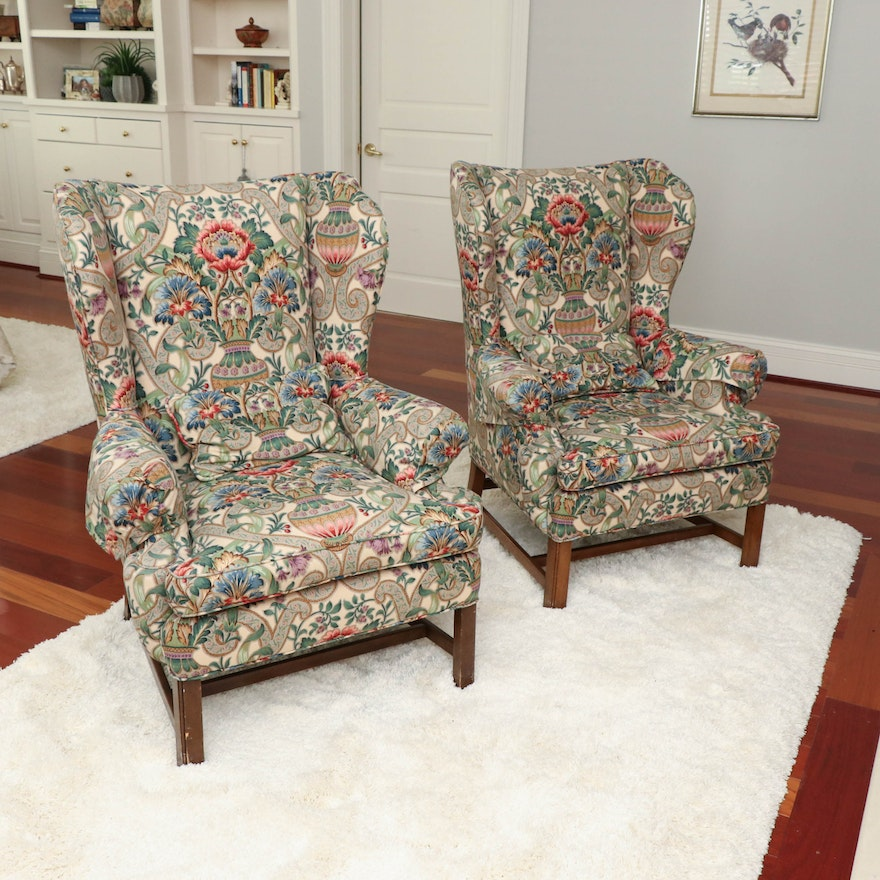 Henredon Chippendale Style Floral Upholstered Wingback Chairs, Late 20th C.
