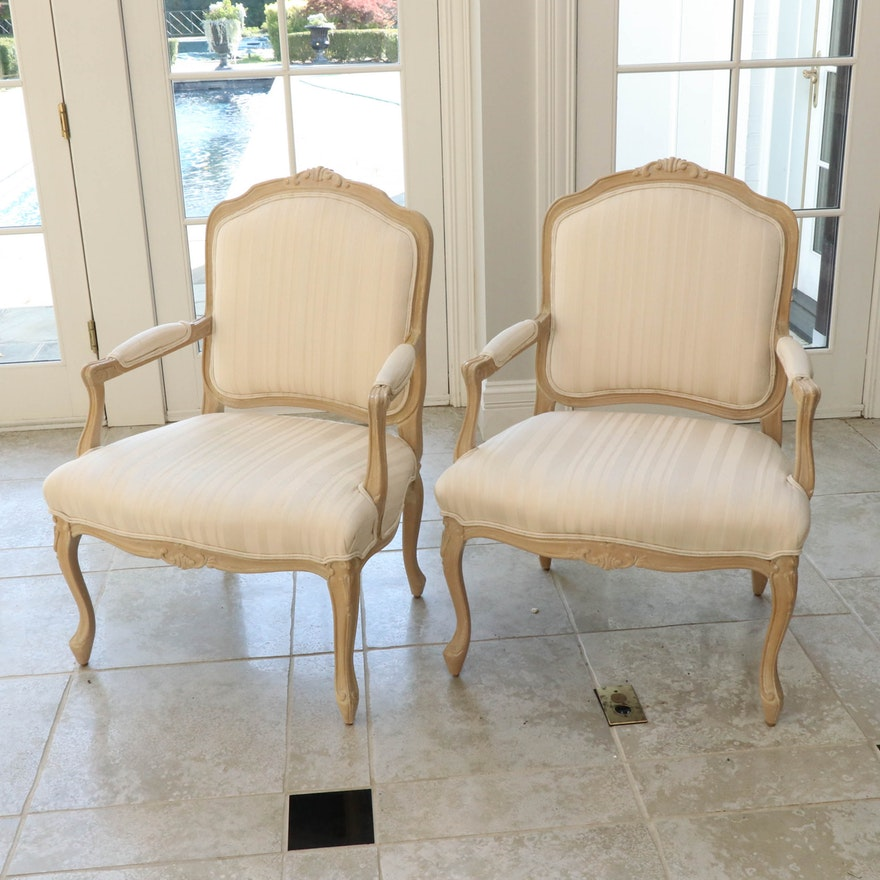 Pair of French Provincial Style Upholstered Fauteuils, 20th Century