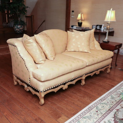 Ginkgo Leaf Patterned Sofa with Carved Skirt and Nailhead Trim, Late 20th/21st C