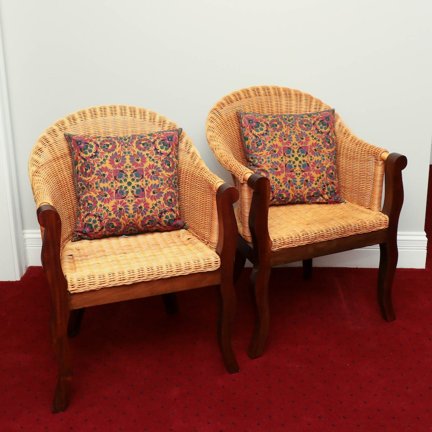 Bauer Furniture Barrel Back Wicker and Mahogany Armchairs, 20th Century