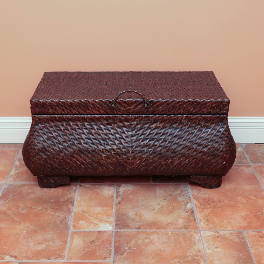 Wicker Bombe Chest with Wood Interior