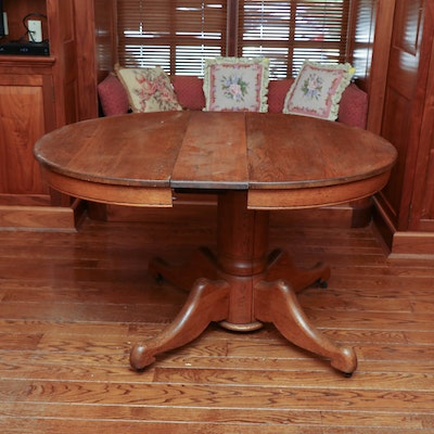 Oak Pedestal Dining Table on Casters, Early to Mid-20th Century