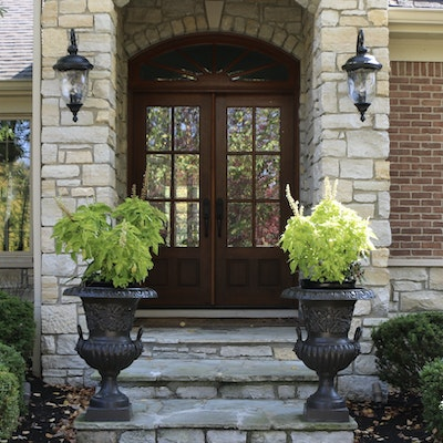 Pair of Classical Style Outdoor Iron Urns