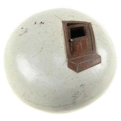 Wyman Rice Handbuilt Stoneware Raku Fired Orb Birdhouse