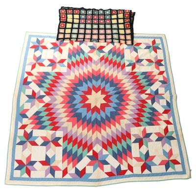"""Handmade Crochet Granny Square Lap Blanket and """"Star of Bethlehem"""" Quilt"""