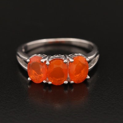 Sterling Silver Three Stone Opal Ring