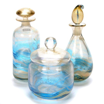 "Gozo ""Gold Collection"" Art Glass Decanters and Lidded Jar"