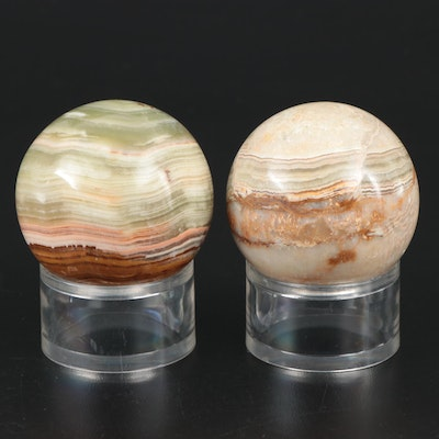 Polished Banded Calcite Orbs with Display Stands