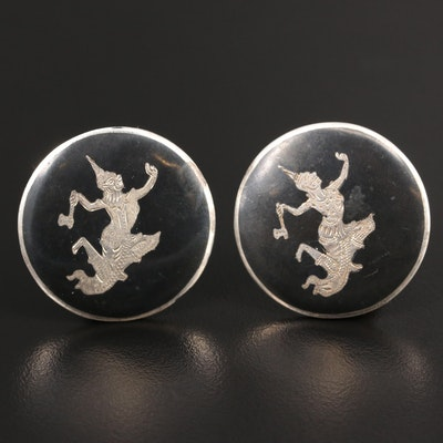 Thai Sterling Silver Niello Button Earrings