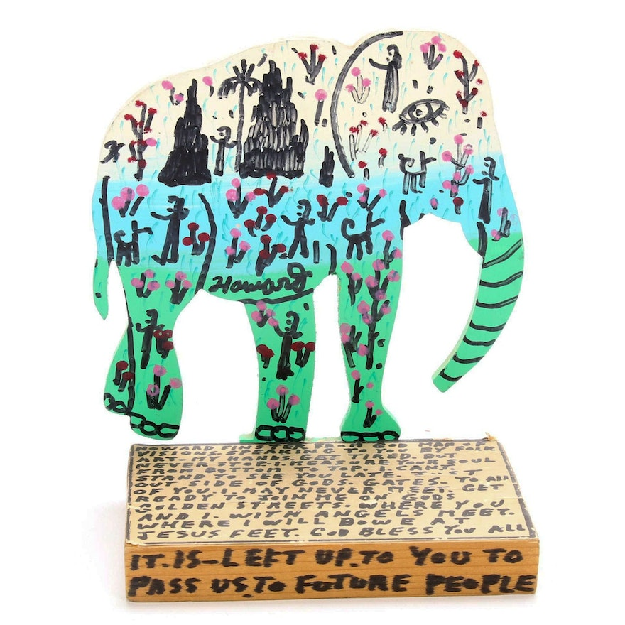 "Howard Finster Folk Art Cut Wood Painting ""It Is Left Up To You,"" 1990"
