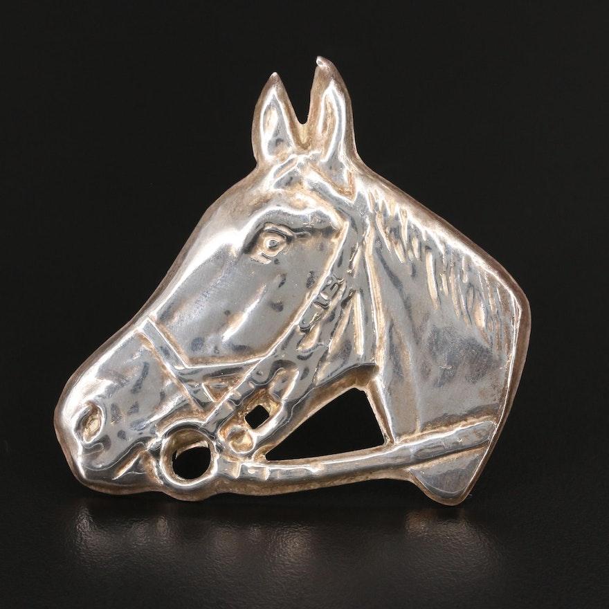 Sterling Horse Head Brooch