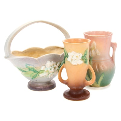 """Roseville Pottery """"Iris"""" and """"Gardenia"""" Vases and Basket, Mid-20th Century"""