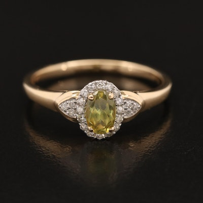 14K Sphene and Diamond Ring