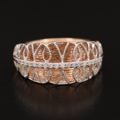 14K Rose Gold Diamond Band with Tapered Filigree Accents