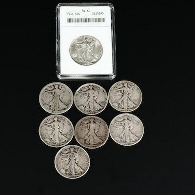 ANACS Graded MS65 1944 and Key Date 1917-S Walking Liberty Silver Half Dollars