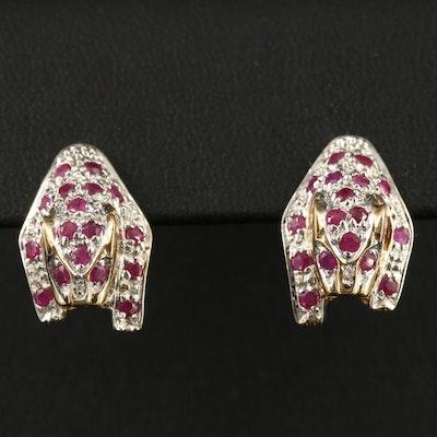 14K Ruby and Diamond Feline Motif Earrings