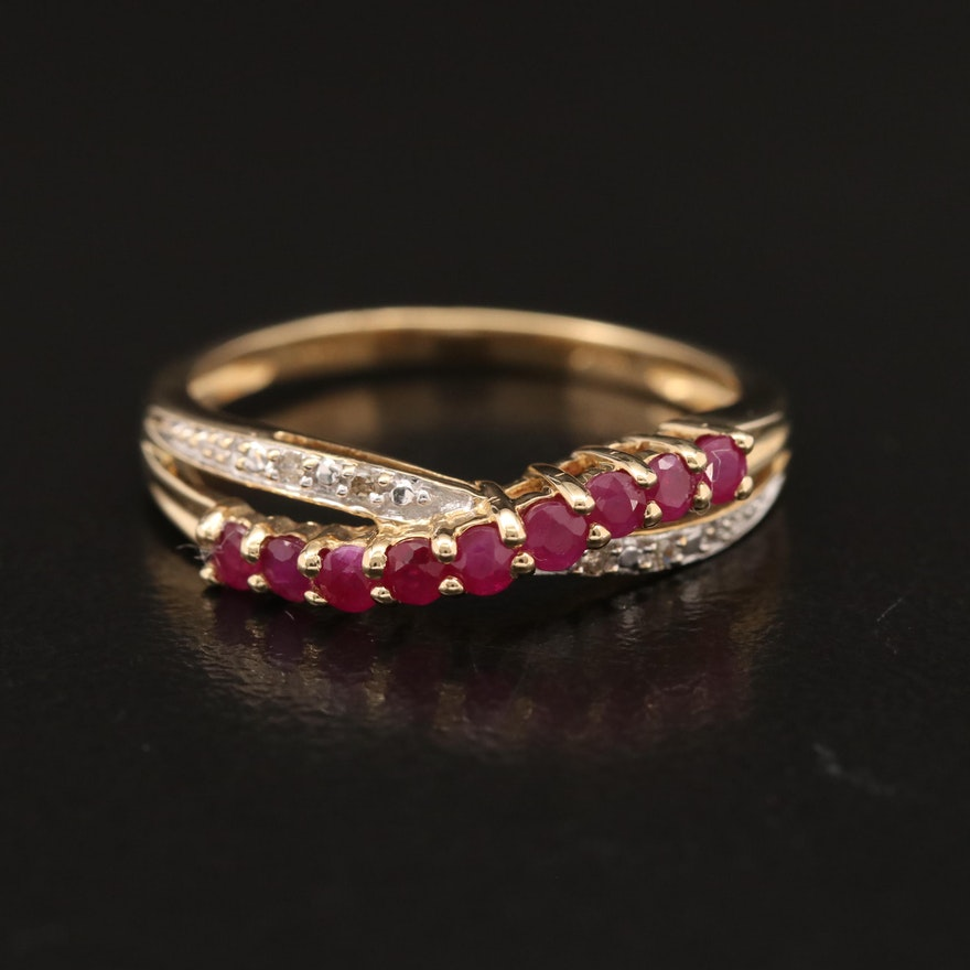 14K Diamond and Ruby Crossover Band