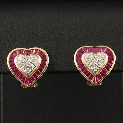 14K Diamond and Ruby Heart Motif Earrings