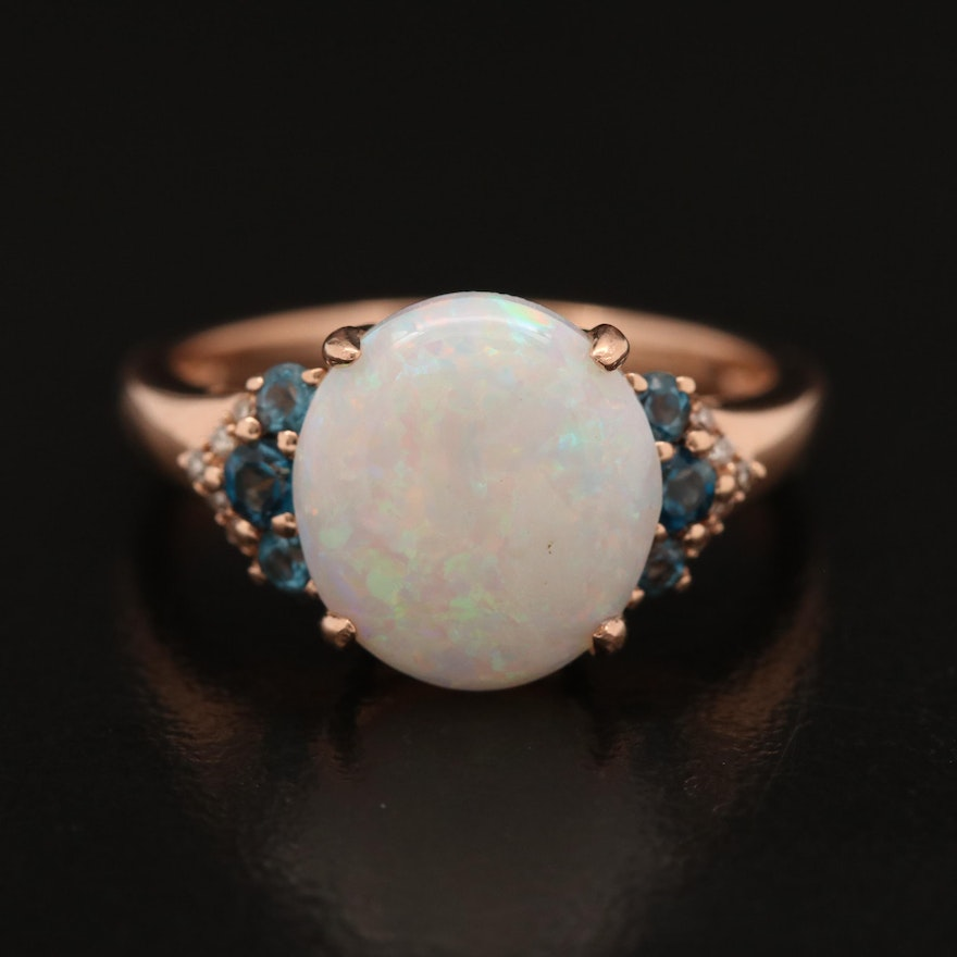 14K Rose Gold Opal, Topaz and Diamond Ring