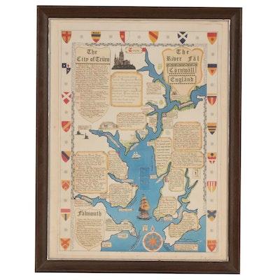 """The River Fäl, Cörnwäll, Engländ"" Letterpress Halftone Map, circa 1977"