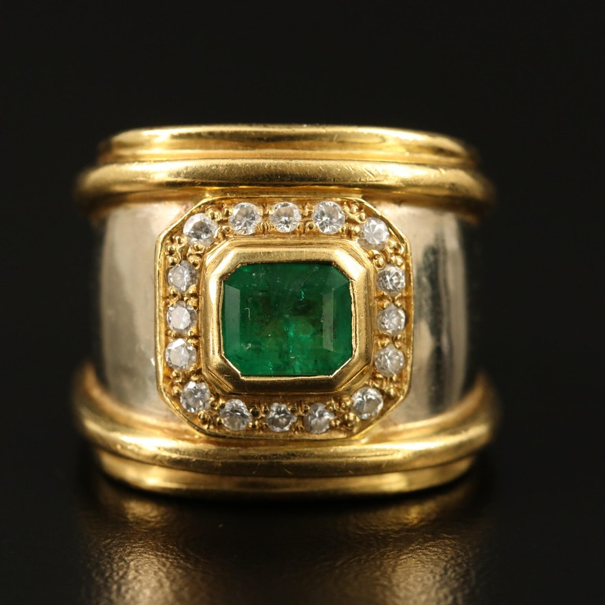 18K 1.02 CT Emerald and Diamond Ring