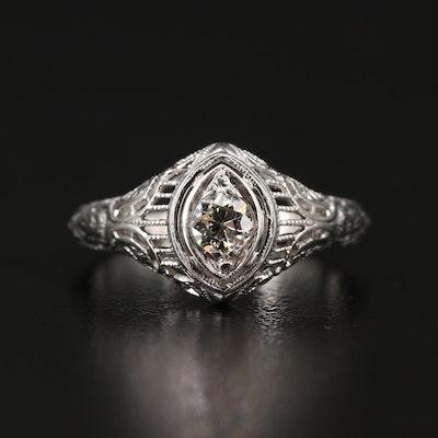 Early Art Deco 18K Diamond Ring