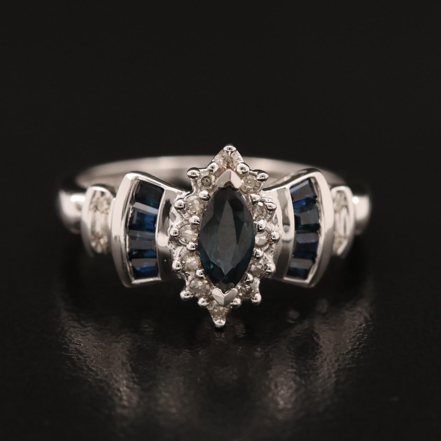 14K Sapphire Ring with Stepped Shoulders and Diamond Halo