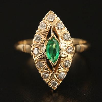 18K Emerald and Diamond Navette Ring