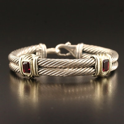 David Yurman Sterling Double Cable Hinged Bracelet with Garnet and 14K Accents