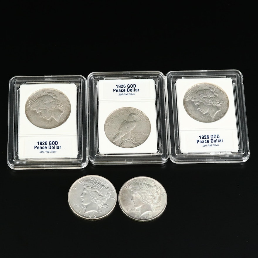 Five Silver Peace Dollars, 1920s