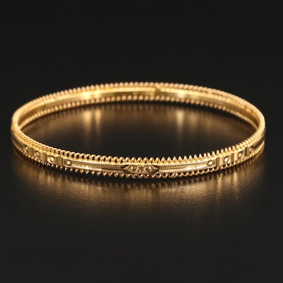 18K Spiral Edged Bangle