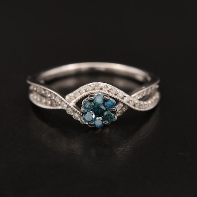 14K Diamond Ring with Twist Design Shoulders