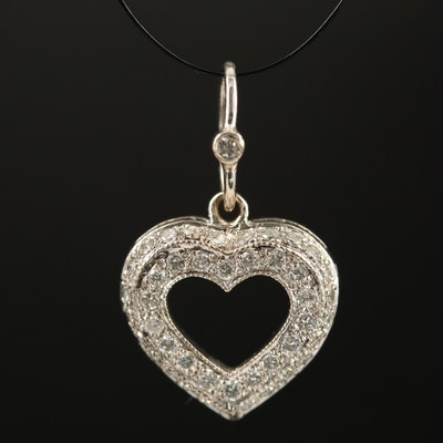 18K Diamond Lined Heart Pendant