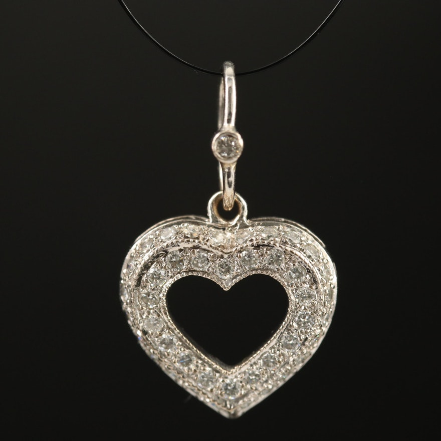 18K Diamond Lined Heart Pendant