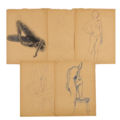 Modern Charcoal and Ink Figurative Gesture Drawings, circa 1960