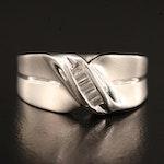 14K Channel Set Diamond Twist Ring
