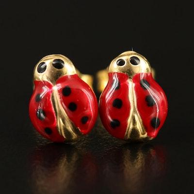 14K Enamel Ladybug Motif Stud Earrings
