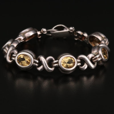 Sterling Silver Citrine Crossover Chain Bracelet